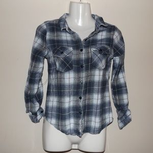 Love Notes S Blue Flannel Button Down